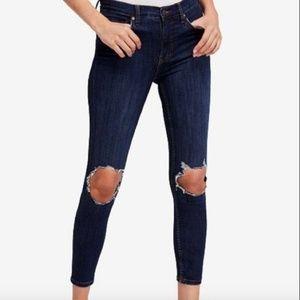Free People High Waist Skinny Jeans a5*